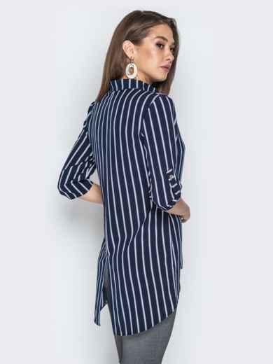 Синяя блузка из софта в полоску с удлиненной спинкой - 21377, фото 3 – интернет-магазин Dressa