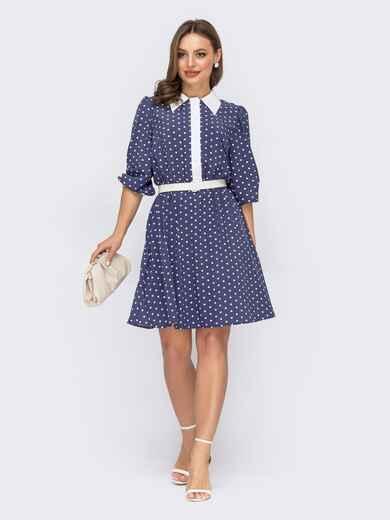 Темно-синее платье в горох с расклешенной юбкой 53677, фото 1