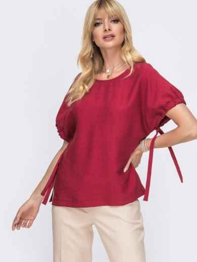 Блузка свободного кроя с разрезами по бокам бордо - 49340, фото 1 – интернет-магазин Dressa