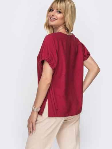 Блузка свободного кроя с разрезами по бокам бордо - 49340, фото 2 – интернет-магазин Dressa