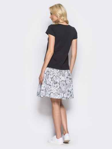 Чёрное платье-трапеция с оборкой из коттона и поясом-кулиской - 11137, фото 2 – интернет-магазин Dressa