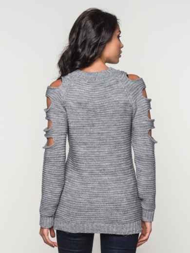 Джемпер с овальными вырезами на рукавах - 13101, фото 3 – интернет-магазин Dressa