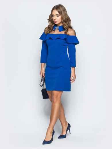 Платье синего цвета с фатиновой кокеткой и брошью - 17879, фото 2 – интернет-магазин Dressa