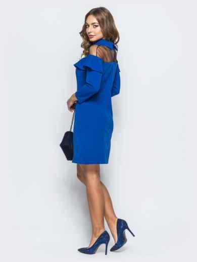 Платье синего цвета с фатиновой кокеткой и брошью - 17879, фото 3 – интернет-магазин Dressa
