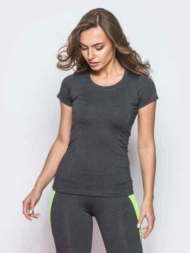 Серая футболка без застёжек - 12080, фото 1 – интернет-магазин Dressa