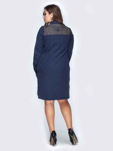 Тёмно-синее платье-рубашка с гипюром на спинке - 19155, фото 3 – интернет-магазин Dressa