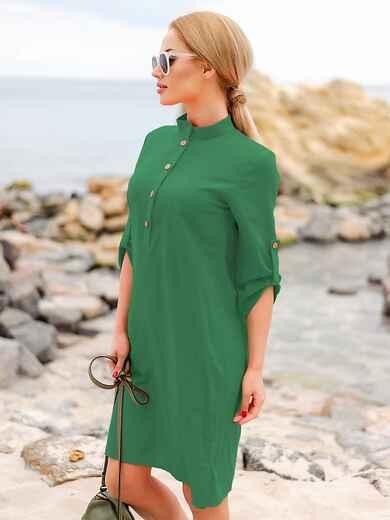 Зеленое льняное платье-рубашка прямого кроя с пуговицами 49565, фото 1