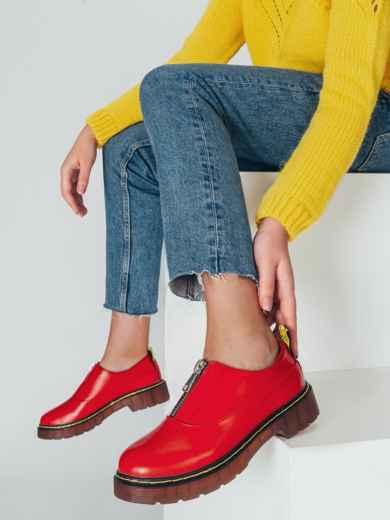 Красные туфли из искусственной кожи на массивной подошве 50592, фото 1
