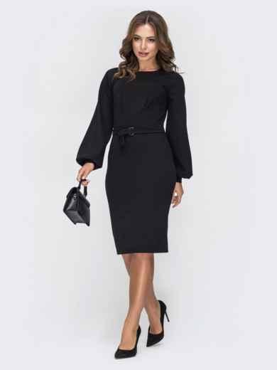 Чёрное платье приталенного кроя с поясом в комплекте 44933, фото 1