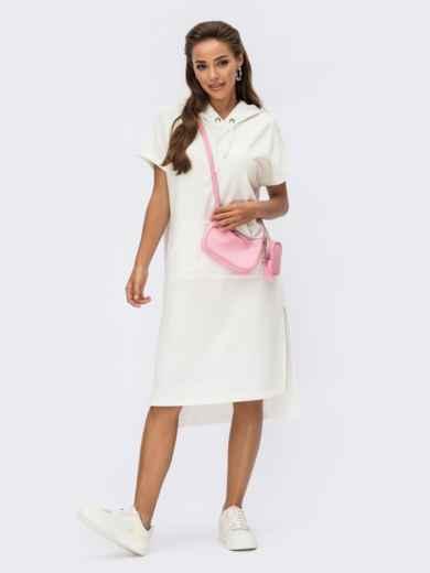 Белое платье-худи с капюшоном и карманом-кенгуру 54245, фото 2
