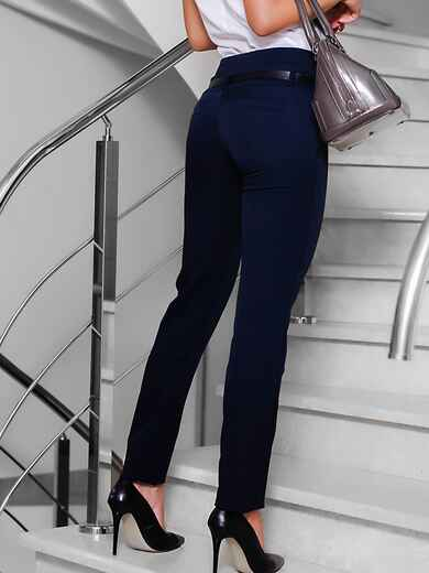Брюки с карманами-обманками сзади темно-синие - 10303, фото 1 – интернет-магазин Dressa