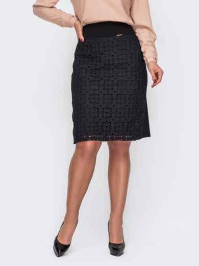 Чёрная юбка большого размера с кружевными вставками 52127, фото 1