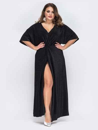 Чёрное платье-макси большого размера из люрекса 43282, фото 1