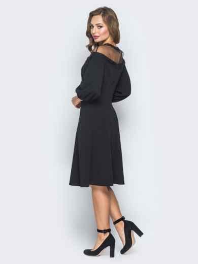 Черное платье с кокеткой из фатина - 18589, фото 2 – интернет-магазин Dressa