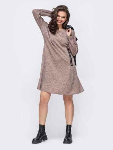 Платье батал цвета пудры с декоративной молнией 51462, фото 2