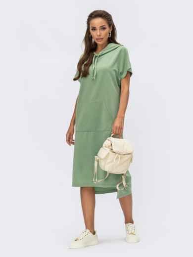 Платье-худи мятного цвета с капюшоном и карманом-кенгуру 54246, фото 1