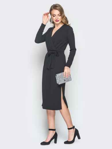 Платье из креп-дайвинга с фиксированным запахом черное - 18489, фото 2 – интернет-магазин Dressa