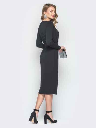 Платье из креп-дайвинга с фиксированным запахом черное - 18489, фото 3 – интернет-магазин Dressa