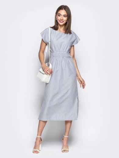 eea679d3d59 Платье-макси в мелкую клетку з завышенной талией серое 21640 ...