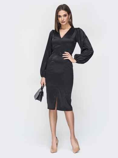 Платье приталенного кроя с V-вырезом чёрное 44935, фото 1