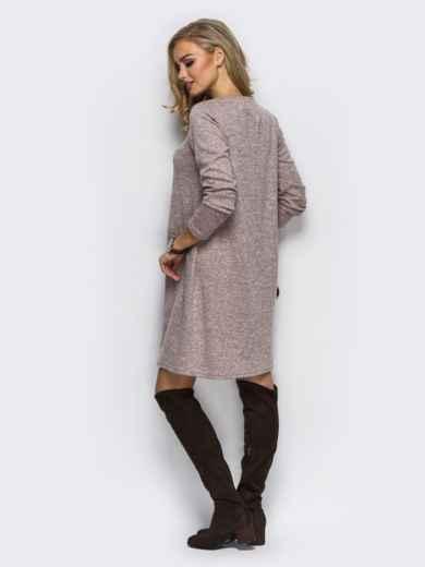 Розовое трикотажное платье-трапеция с необычным карманом на полочке - 13583, фото 2 – интернет-магазин Dressa
