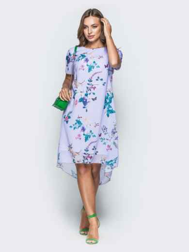 Сиреневое платье-трапеция из шифона с цветочным принтом - 38964, фото 2 – интернет-магазин Dressa