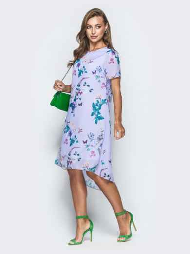 Сиреневое платье-трапеция из шифона с цветочным принтом - 38964, фото 3 – интернет-магазин Dressa