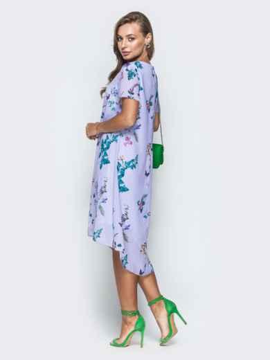 Сиреневое платье-трапеция из шифона с цветочным принтом - 38964, фото 4 – интернет-магазин Dressa