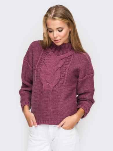 Свитер с объемными рукавами со спущенным плечом бордовый - 12973, фото 2 – интернет-магазин Dressa