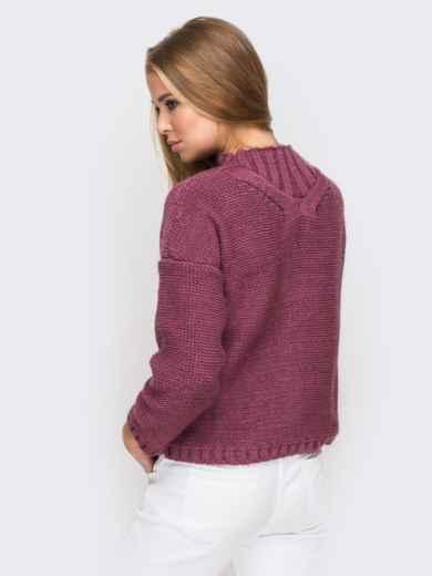Свитер с объемными рукавами со спущенным плечом бордовый - 12973, фото 5 – интернет-магазин Dressa