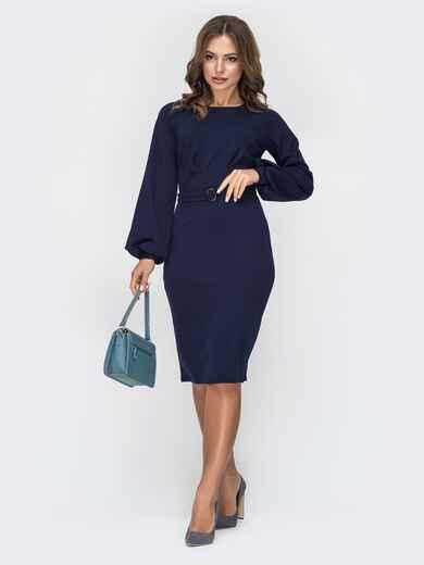 Тёмно-синее платье приталенного кроя с поясом в комплекте 44934, фото 1