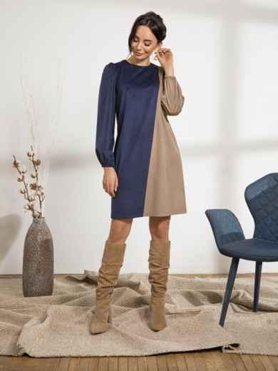 Тёмно-синее платье прямого кроя из вельвета 44209, фото 2