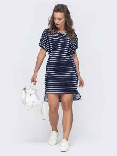 Платье в тёмно-синюю полоску с удлиненной спинкой 46728, фото 1