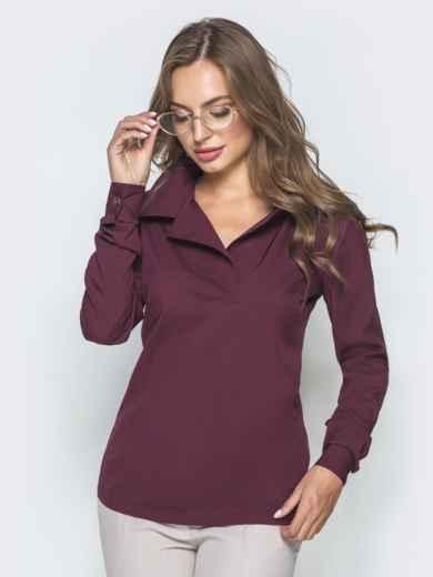 Фиолетовая блузка из софта с отложным воротником 39931, фото 1