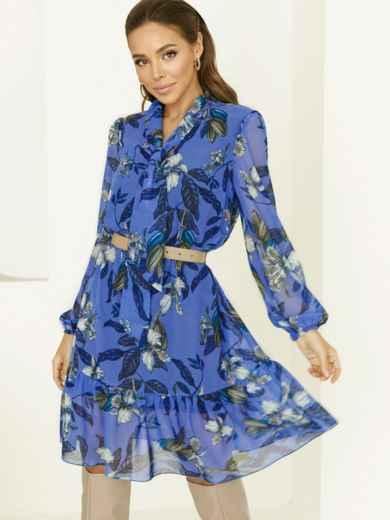 Голубое платье-трапеция с цветочным принтом и воланом по низу 53059, фото 1