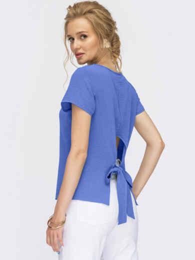 Синяя блузка с коротким рукавом и вырезом по спинке 54964, фото 1