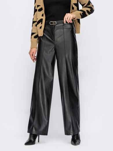 Чорні широкі штани з шкіри зі стрілками 55259, фото 1