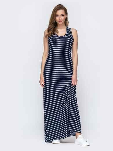 Длинное платье-футболка в полоску тёмно-синее 46730, фото 1