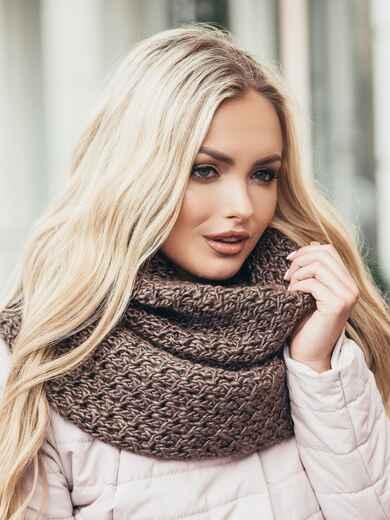 Коричневый вязаный шарф-хомут 15573, фото 1
