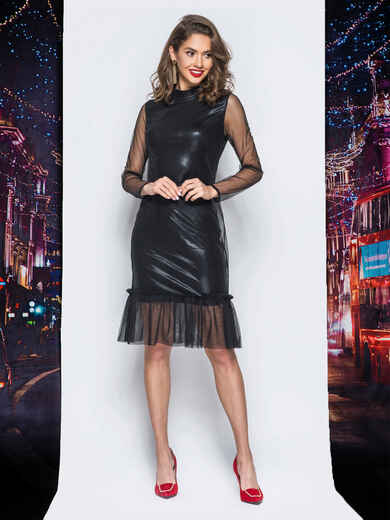 Платье черного цвета из трикотажа с напылением - 18222, фото 1 – интернет-магазин Dressa