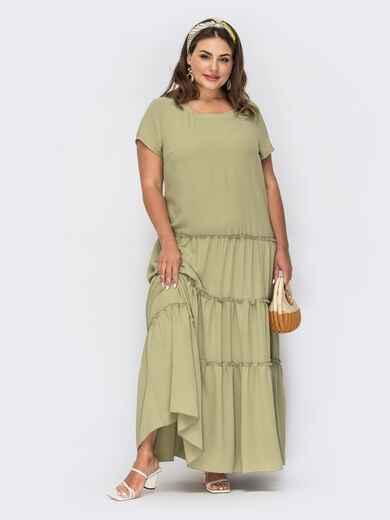 Платье-макси батал цвета хаки  53956, фото 1
