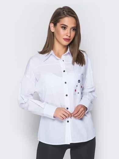 Рубашка белого цвета с разноцветными люверсами - 17952, фото 1 – интернет-магазин Dressa