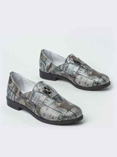Серые туфли из натуральной кожи с принтом 41876, фото 2