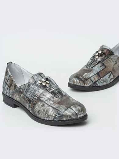 Серые туфли из натуральной кожи с принтом 41876, фото 3
