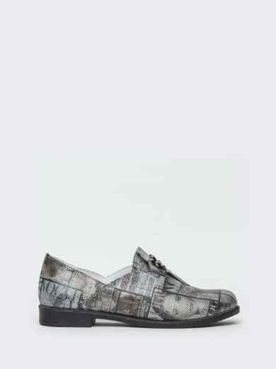 Серые туфли из натуральной кожи с принтом 41876, фото 5