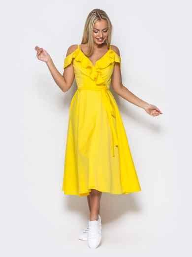 Желтое платье на запах на тонких бретелях - 10818, фото 2 – интернет-магазин Dressa