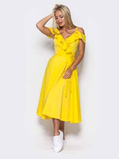 Желтое платье на запах на тонких бретелях - 10818, фото 3 – интернет-магазин Dressa