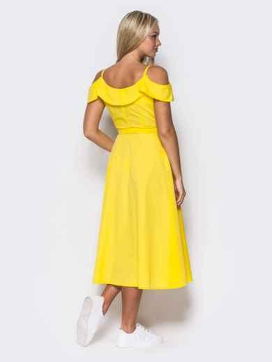 Желтое платье на запах на тонких бретелях - 10818, фото 4 – интернет-магазин Dressa