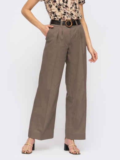 Коричневые широкие брюки с защипами по переду 54448, фото 1