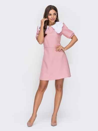 Пудровое платье расклешенного кроя с кукольным воротником 53539, фото 1